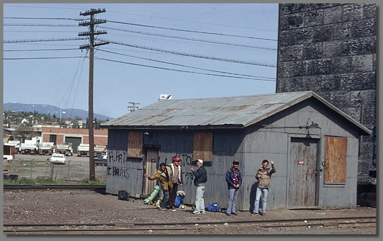 tramps, Klamath Falls SP yard, May 1981