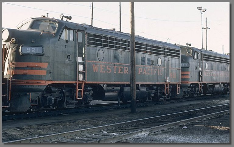 Western Pacific F7's, Stockton WP yard, July 1981
