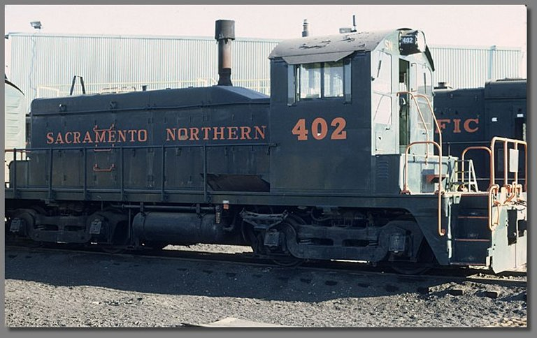 Sacramento Northern switcher, Stockton WP yard, July 1981