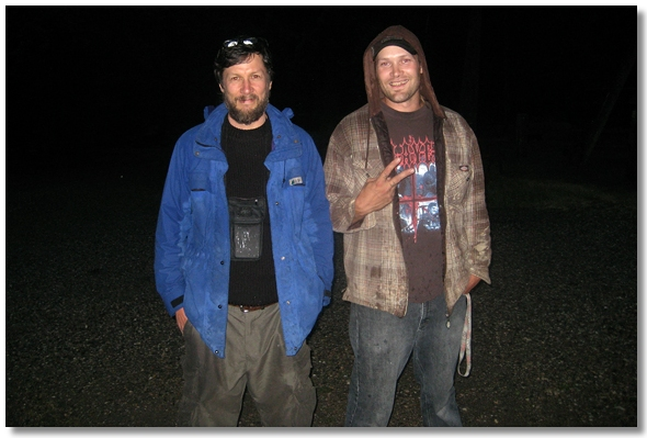 Dustin and I at Canada West RV Park after I was pulled off the train nearby. 2009.