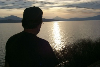 Short Track is mesmerized by the sunset over Upper Klamath Lake